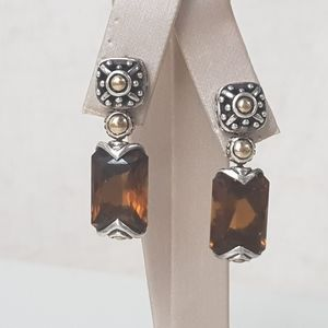 John Hardy Batu Sari Smoky Quartz Drop Earrings Wi